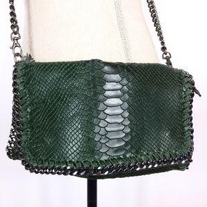 Borse In Pelle Purse Green Genuine Leather Chain